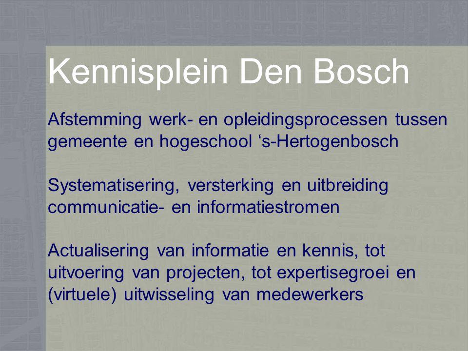Kennisplein Den Bosch Afstemming werk- en opleidingsprocessen tussen gemeente en hogeschool 's-Hertogenbosch Systematisering, versterking en uitbreiding communicatie- en informatiestromen Actualisering van informatie en kennis, tot uitvoering van projecten, tot expertisegroei en (virtuele) uitwisseling van medewerkers