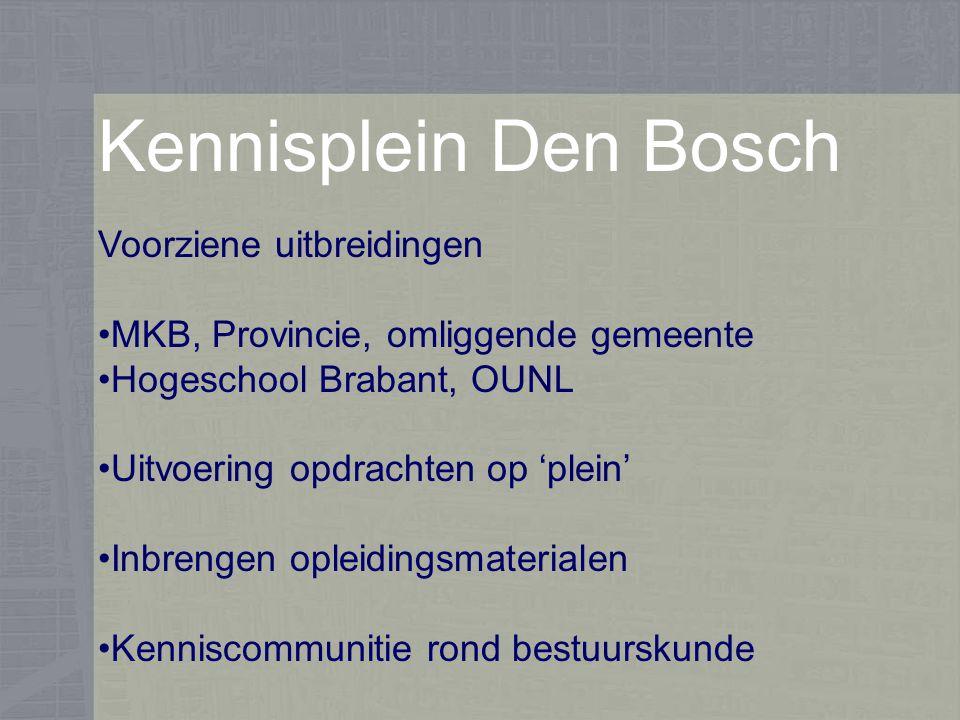 Kennisplein Den Bosch Voorziene uitbreidingen MKB, Provincie, omliggende gemeente Hogeschool Brabant, OUNL Uitvoering opdrachten op 'plein' Inbrengen opleidingsmaterialen Kenniscommunitie rond bestuurskunde