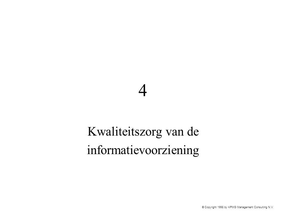 © Copyright 1998 by KPMG Management Consulting N.V. 4 Kwaliteitszorg van de informatievoorziening