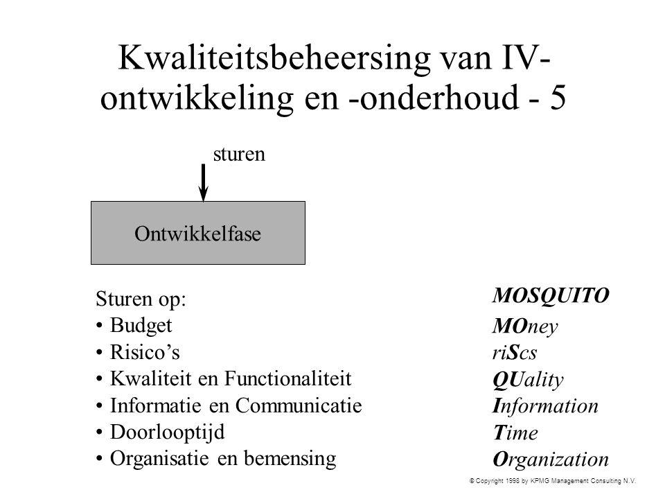 © Copyright 1998 by KPMG Management Consulting N.V. Kwaliteitsbeheersing van IV- ontwikkeling en -onderhoud - 5 Ontwikkelfase sturen Sturen op: Budget