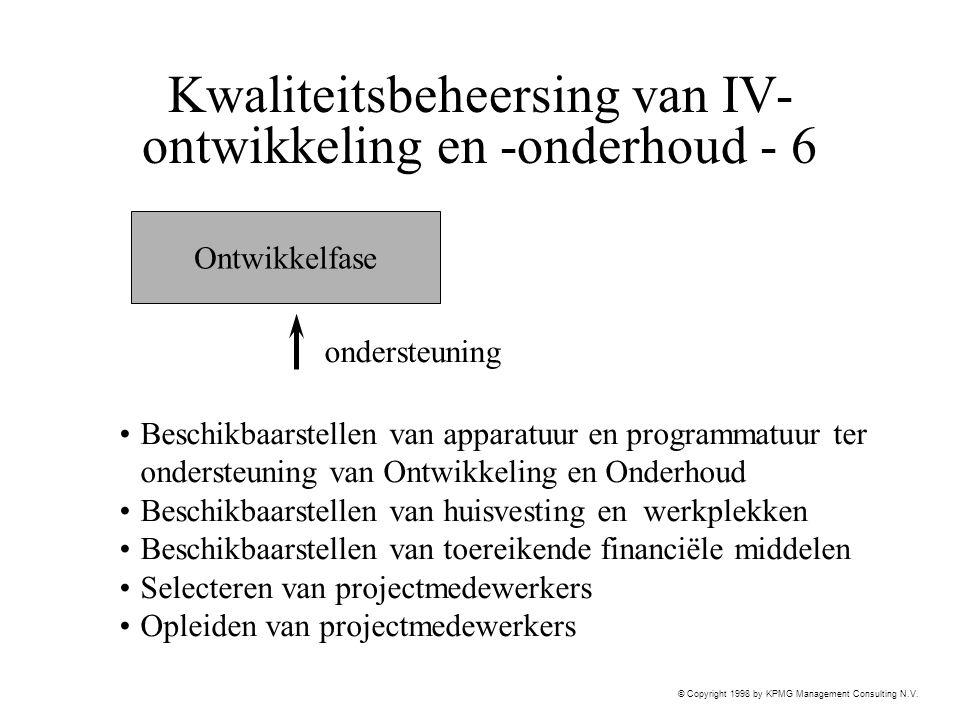 © Copyright 1998 by KPMG Management Consulting N.V. Kwaliteitsbeheersing van IV- ontwikkeling en -onderhoud - 6 Ontwikkelfase ondersteuning Beschikbaa