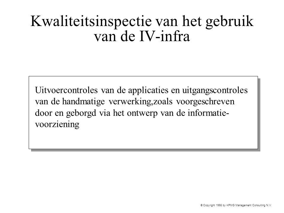© Copyright 1998 by KPMG Management Consulting N.V. Kwaliteitsinspectie van het gebruik van de IV-infra Uitvoercontroles van de applicaties en uitgang