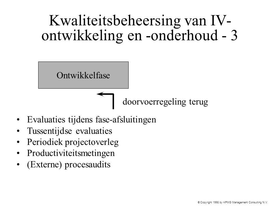 © Copyright 1998 by KPMG Management Consulting N.V. Kwaliteitsbeheersing van IV- ontwikkeling en -onderhoud - 3 Evaluaties tijdens fase-afsluitingen T