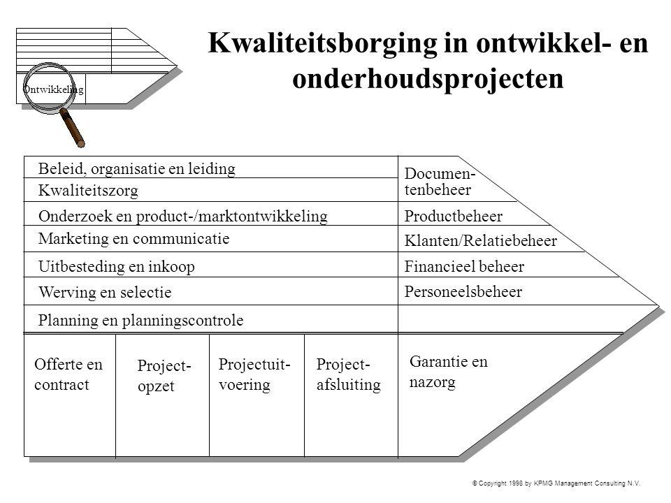 © Copyright 1998 by KPMG Management Consulting N.V. Kwaliteitsborging in ontwikkel- en onderhoudsprojecten Beleid, organisatie en leiding Documen- ten
