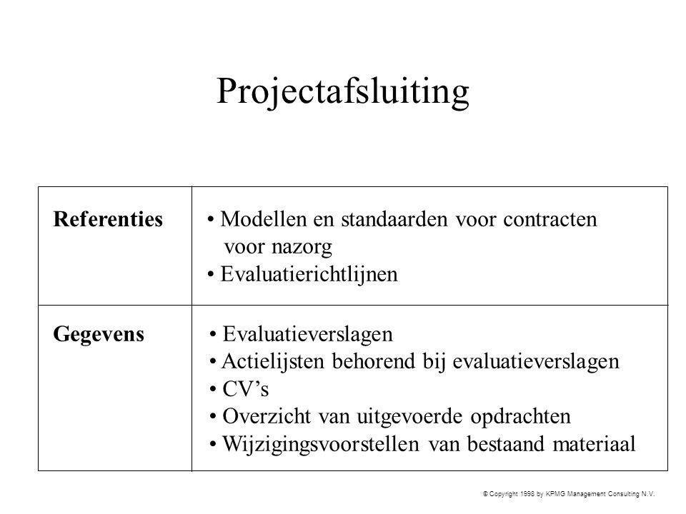 © Copyright 1998 by KPMG Management Consulting N.V. Projectafsluiting Referenties Gegevens Evaluatieverslagen Actielijsten behorend bij evaluatieversl