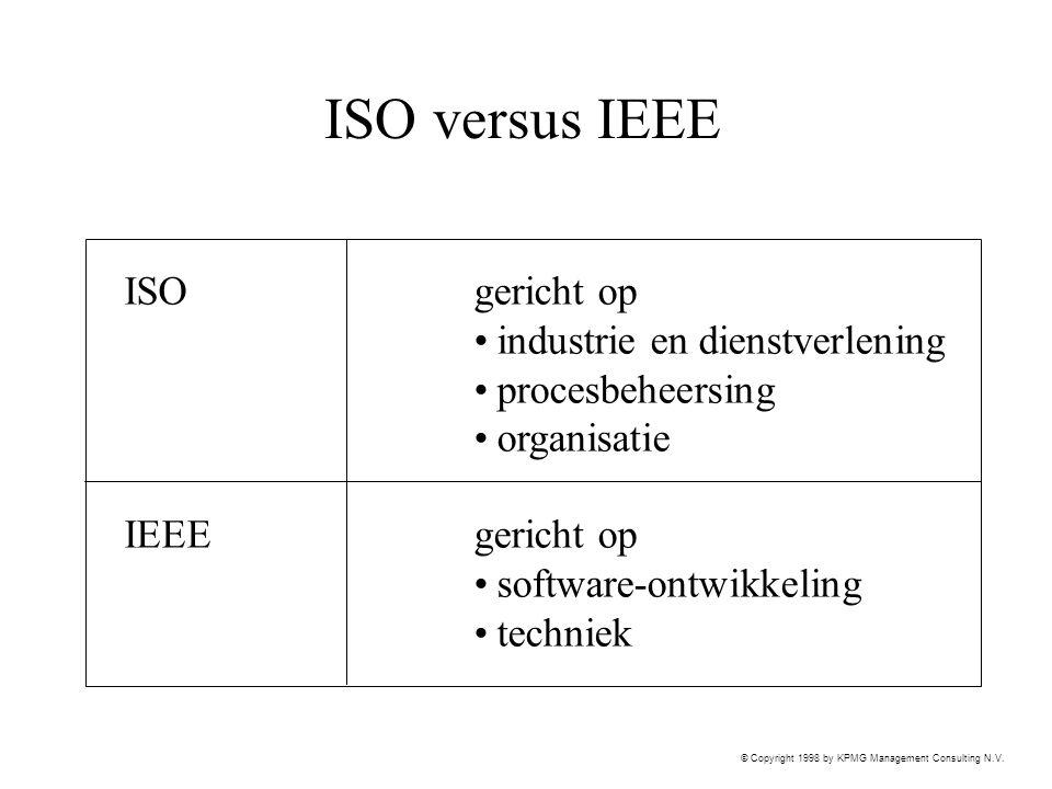 © Copyright 1998 by KPMG Management Consulting N.V. ISO versus IEEE ISOgericht op industrie en dienstverlening procesbeheersing organisatie IEEEgerich
