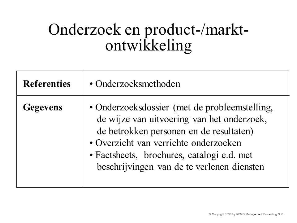 © Copyright 1998 by KPMG Management Consulting N.V. Onderzoek en product-/markt- ontwikkeling Referenties Gegevens Onderzoeksdossier (met de probleems