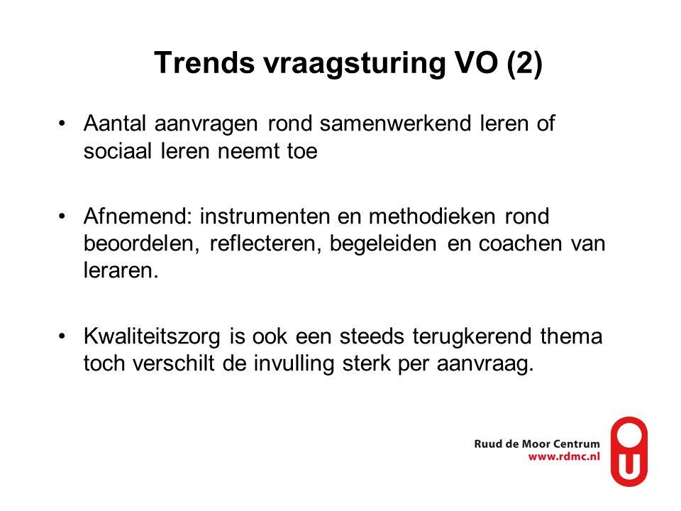 Trends vraagsturing VO (2) Aantal aanvragen rond samenwerkend leren of sociaal leren neemt toe Afnemend: instrumenten en methodieken rond beoordelen, reflecteren, begeleiden en coachen van leraren.