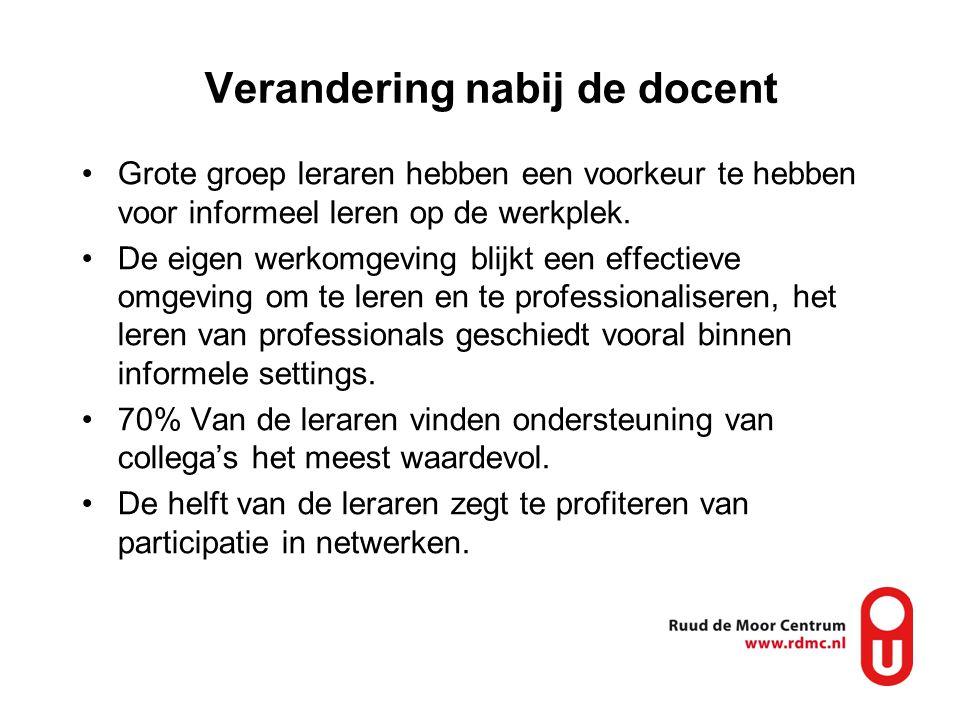 Verandering nabij de docent Grote groep leraren hebben een voorkeur te hebben voor informeel leren op de werkplek. De eigen werkomgeving blijkt een ef