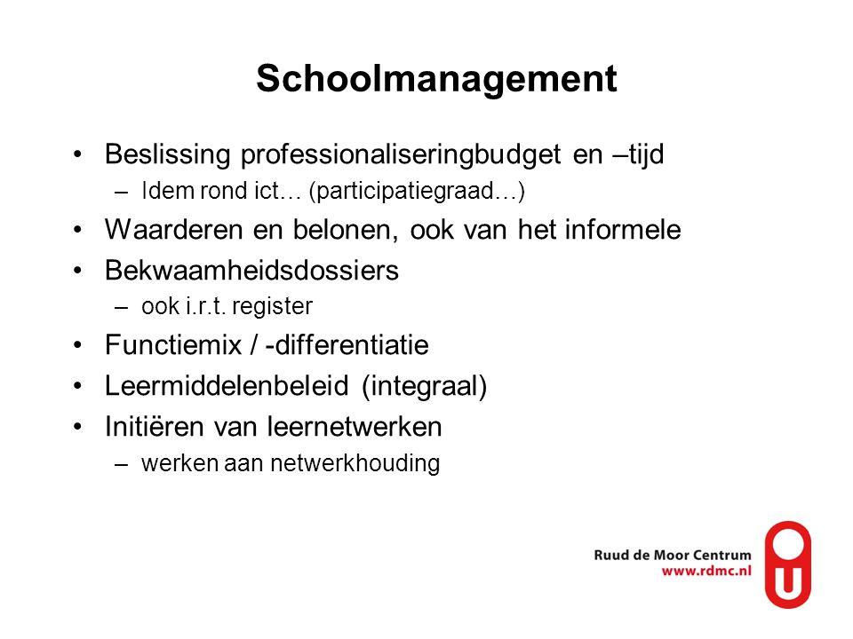 Schoolmanagement Beslissing professionaliseringbudget en –tijd –Idem rond ict… (participatiegraad…) Waarderen en belonen, ook van het informele Bekwaamheidsdossiers –ook i.r.t.