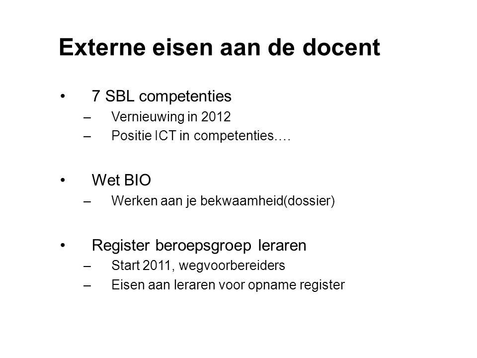 Externe eisen aan de docent 7 SBL competenties –Vernieuwing in 2012 –Positie ICT in competenties…. Wet BIO –Werken aan je bekwaamheid(dossier) Registe
