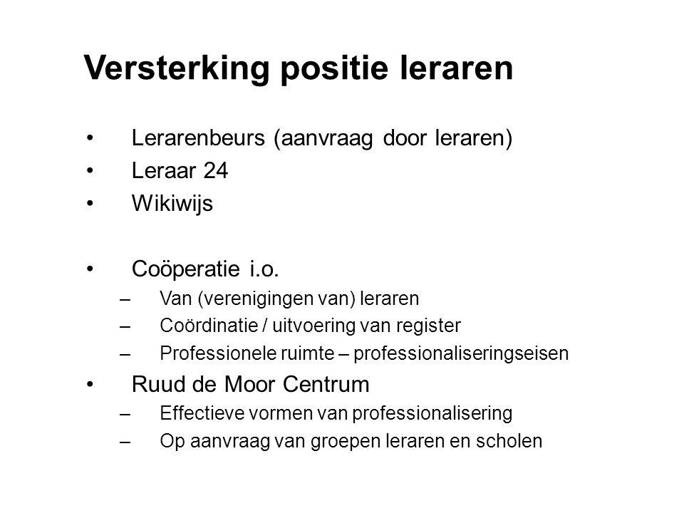 Versterking positie leraren Lerarenbeurs (aanvraag door leraren) Leraar 24 Wikiwijs Coöperatie i.o. –Van (verenigingen van) leraren –Coördinatie / uit
