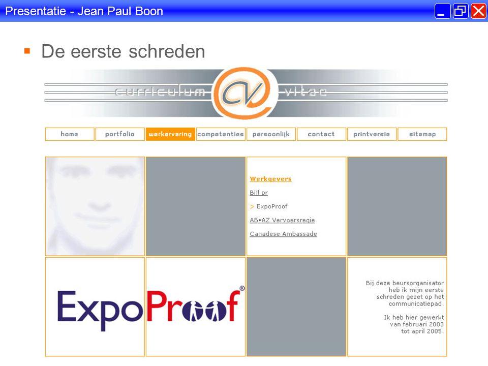 Presentatie - Jean Paul Boon  Praktijkopdracht