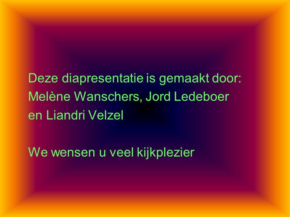 Deze diapresentatie is gemaakt door: Melène Wanschers, Jord Ledeboer en Liandri Velzel We wensen u veel kijkplezier