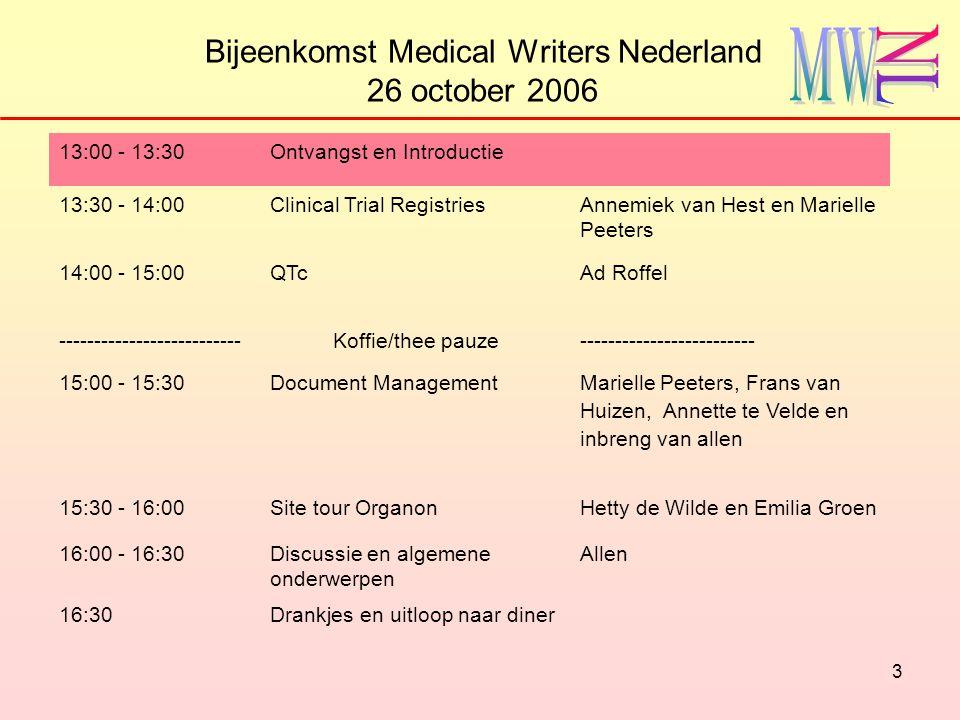 4 Bijeenkomst Medical Writers Nederland 26 october 2006 13:00 - 13:30Ontvangst en Introductie 13:30 - 14:00Clinical Trial RegistriesAnnemiek van Hest en Marielle Peeters 14:00 - 15:00QTc Ad Roffel --------------------------Koffie/thee pauze------------------------- 15:00 - 15:30Document Management Marielle Peeters, Frans van Huizen, Annette te Velde en inbreng van allen 15:30 - 16:00Site tour OrganonHetty de Wilde en Emilia Groen 16:00 - 16:30Discussie en algemene onderwerpen Allen 16:30Drankjes en uitloop naar diner