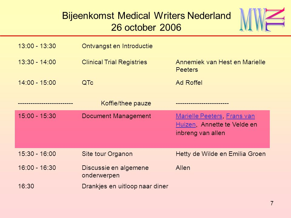 7 Bijeenkomst Medical Writers Nederland 26 october 2006 13:00 - 13:30Ontvangst en Introductie 13:30 - 14:00Clinical Trial RegistriesAnnemiek van Hest