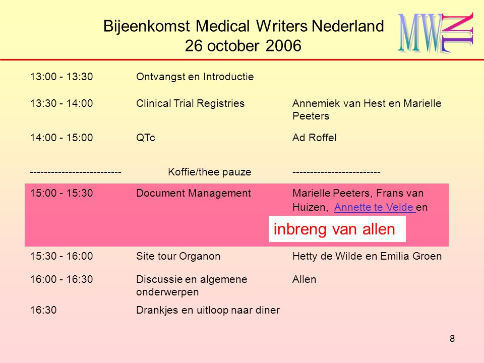 8 Bijeenkomst Medical Writers Nederland 26 october 2006 13:00 - 13:30Ontvangst en Introductie 13:30 - 14:00Clinical Trial RegistriesAnnemiek van Hest