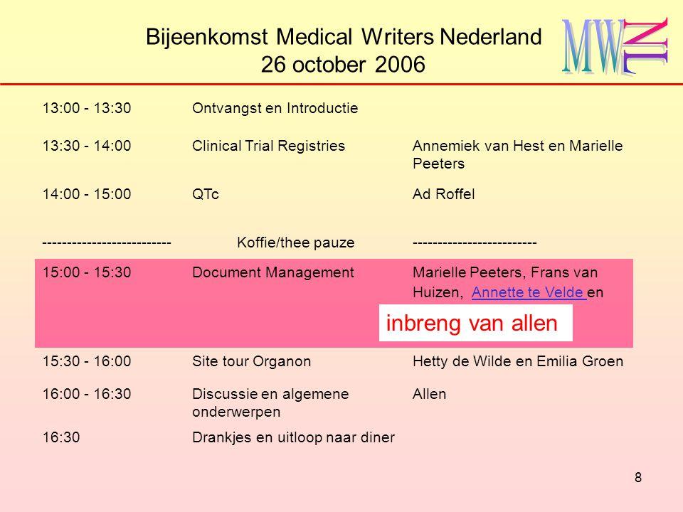 9 Bijeenkomst Medical Writers Nederland 26 october 2006 13:00 - 13:30Ontvangst en Introductie 13:30 - 14:00Clinical Trial RegistriesAnnemiek van Hest en Marielle Peeters 14:00 - 15:00QTc Ad Roffel --------------------------Koffie/thee pauze------------------------- 15:00 - 15:30Document Management Marielle Peeters, Frans van Huizen, Annette te Velde en inbreng van allen 15:30 - 16:00Site tour OrganonHetty de Wilde en Emilia Groen 16:00 - 16:30Discussie en algemene onderwerpen Allen 16:30Drankjes en uitloop naar diner