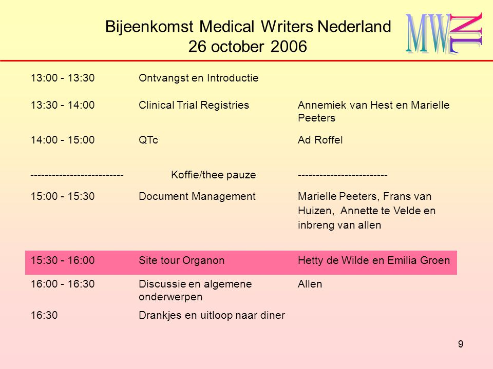 9 Bijeenkomst Medical Writers Nederland 26 october 2006 13:00 - 13:30Ontvangst en Introductie 13:30 - 14:00Clinical Trial RegistriesAnnemiek van Hest