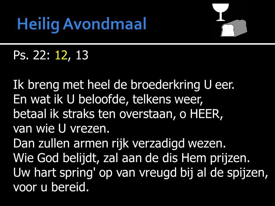 Ps. 22: 12, 13 Ik breng met heel de broederkring U eer. En wat ik U beloofde, telkens weer, betaal ik straks ten overstaan, o HEER, van wie U vrezen.