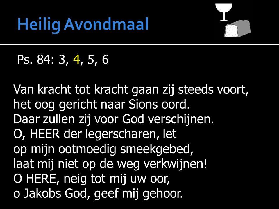 Ps. 84: 3, 4, 5, 6 Van kracht tot kracht gaan zij steeds voort, het oog gericht naar Sions oord. Daar zullen zij voor God verschijnen. O, HEER der leg