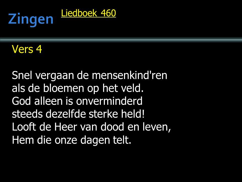 Liedboek 460 Vers 4 Snel vergaan de mensenkind'ren als de bloemen op het veld. God alleen is onverminderd steeds dezelfde sterke held! Looft de Heer v