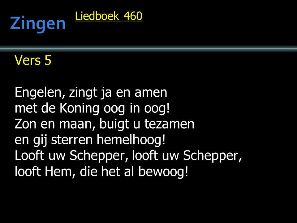 Liedboek 460 Vers 5 Engelen, zingt ja en amen met de Koning oog in oog! Zon en maan, buigt u tezamen en gij sterren hemelhoog! Looft uw Schepper, loof
