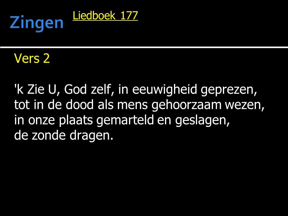 Liedboek 177 Vers 2 'k Zie U, God zelf, in eeuwigheid geprezen, tot in de dood als mens gehoorzaam wezen, in onze plaats gemarteld en geslagen, de zon
