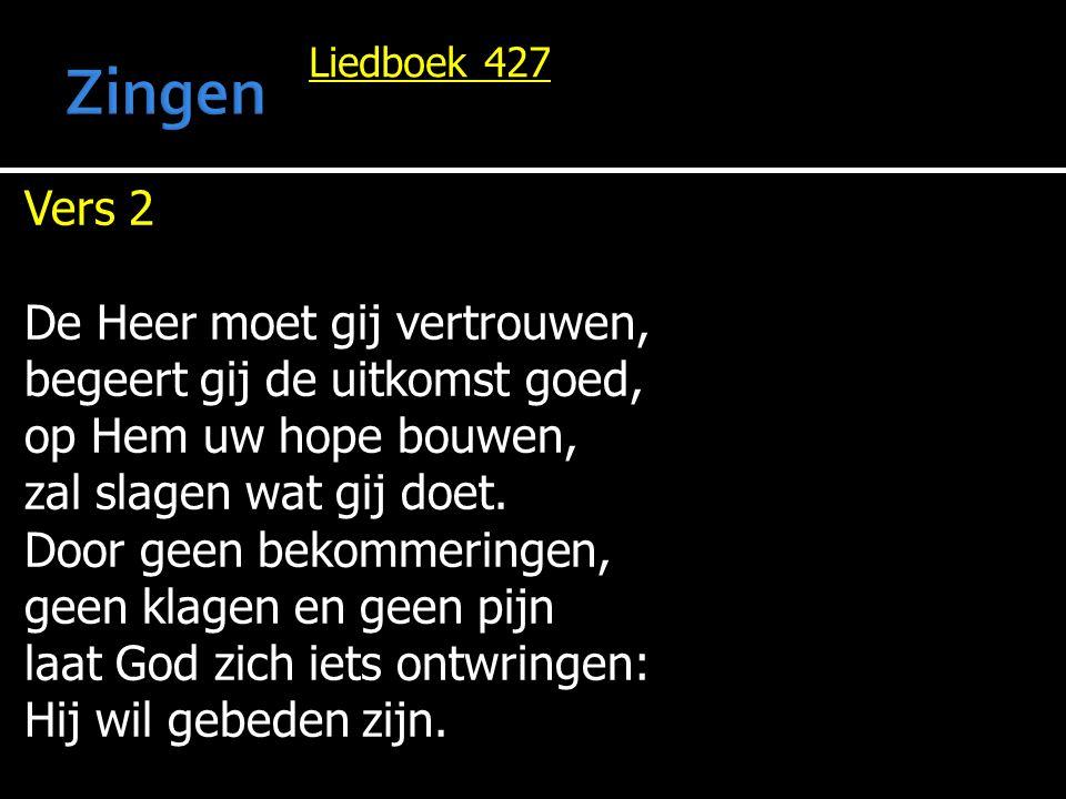 Liedboek 427 Vers 2 De Heer moet gij vertrouwen, begeert gij de uitkomst goed, op Hem uw hope bouwen, zal slagen wat gij doet. Door geen bekommeringen