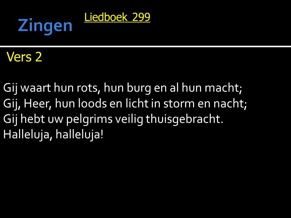 Liedboek 299 Vers 2 Gij waart hun rots, hun burg en al hun macht; Gij, Heer, hun loods en licht in storm en nacht; Gij hebt uw pelgrims veilig thuisgebracht.