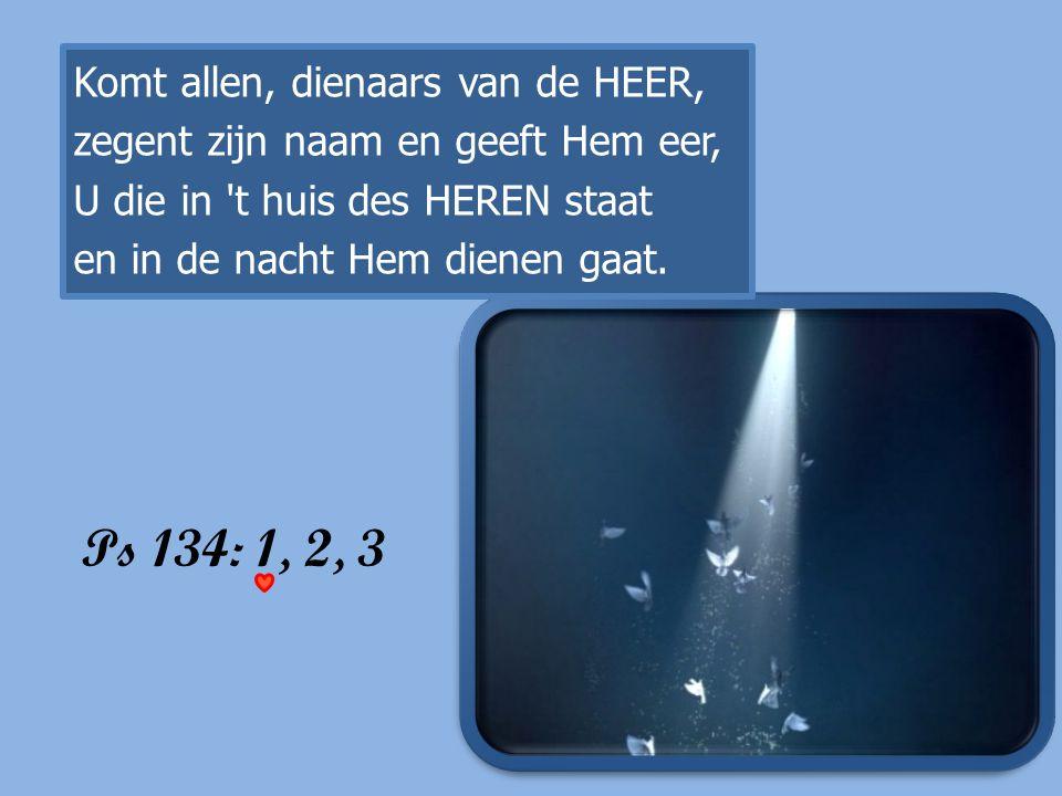 Ps 134: 1, 2, 3 Komt allen, dienaars van de HEER, zegent zijn naam en geeft Hem eer, U die in 't huis des HEREN staat en in de nacht Hem dienen gaat.
