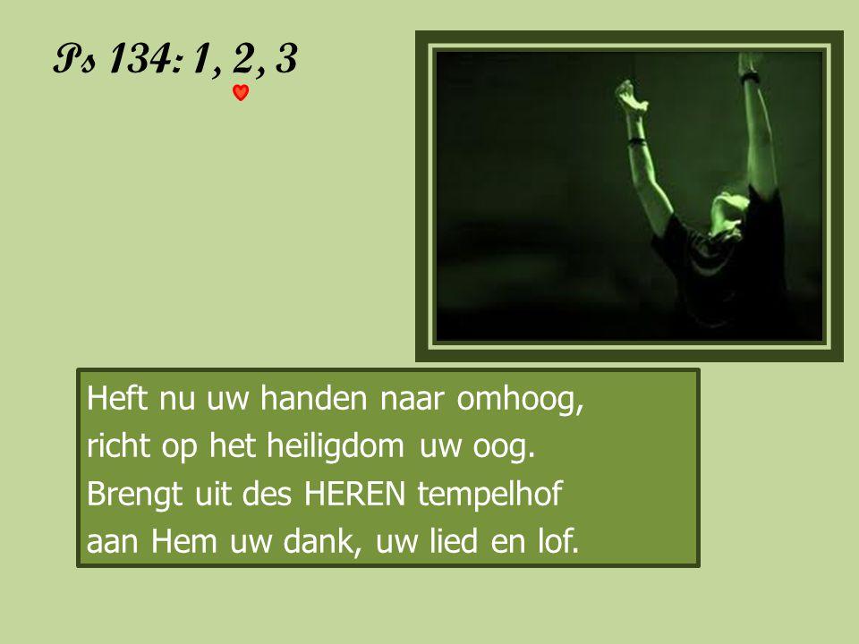 Ps 134: 1, 2, 3 Heft nu uw handen naar omhoog, richt op het heiligdom uw oog. Brengt uit des HEREN tempelhof aan Hem uw dank, uw lied en lof.