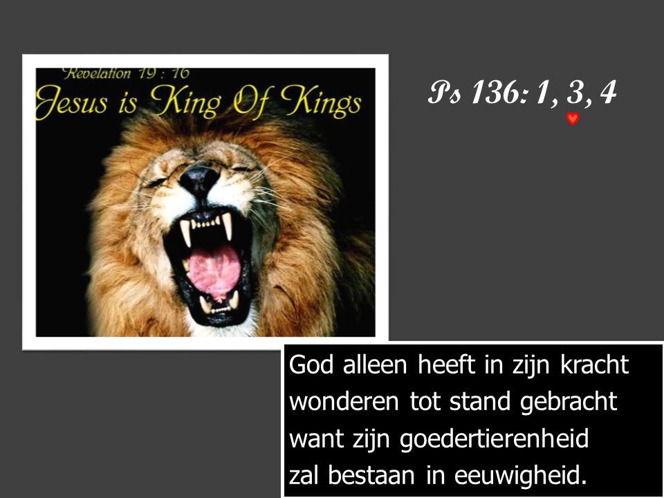 Ps 136: 1, 3, 4 God alleen heeft in zijn kracht wonderen tot stand gebracht want zijn goedertierenheid zal bestaan in eeuwigheid.