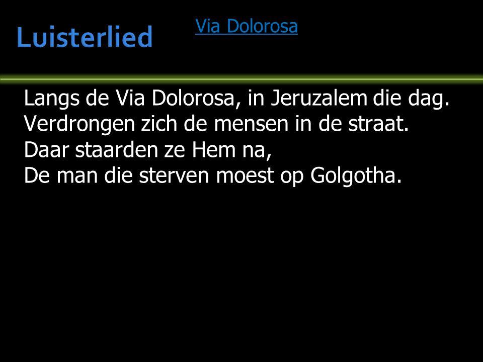 Via Dolorosa Langs de Via Dolorosa, in Jeruzalem die dag. Verdrongen zich de mensen in de straat. Daar staarden ze Hem na, De man die sterven moest op