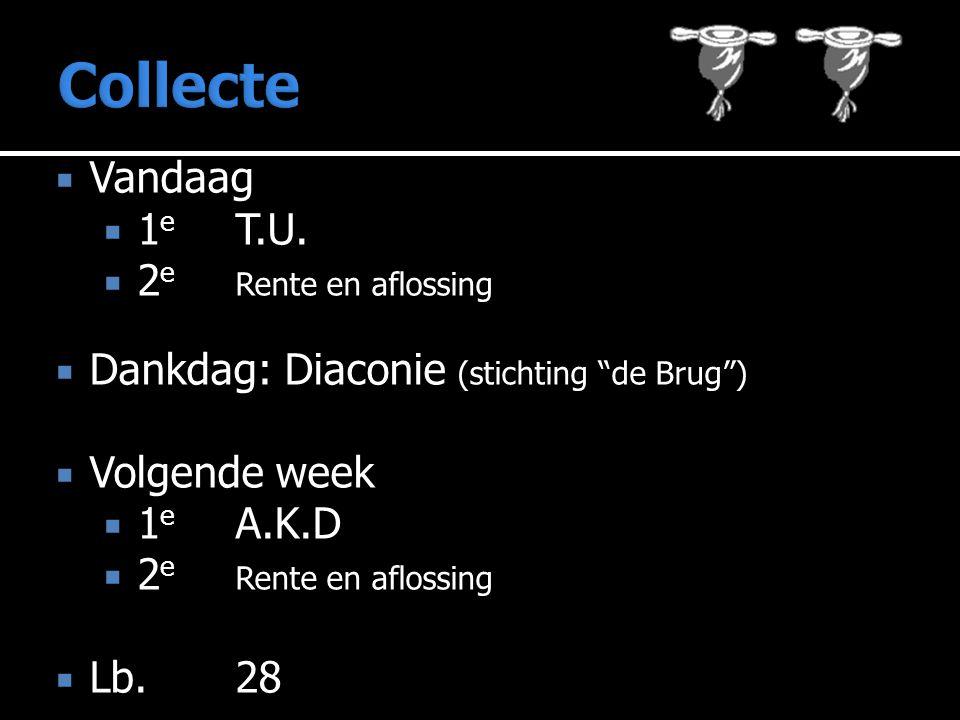 """ Vandaag  1 e T.U.  2 e Rente en aflossing  Dankdag: Diaconie (stichting """"de Brug"""")  Volgende week  1 e A.K.D  2 e Rente en aflossing  Lb.28"""