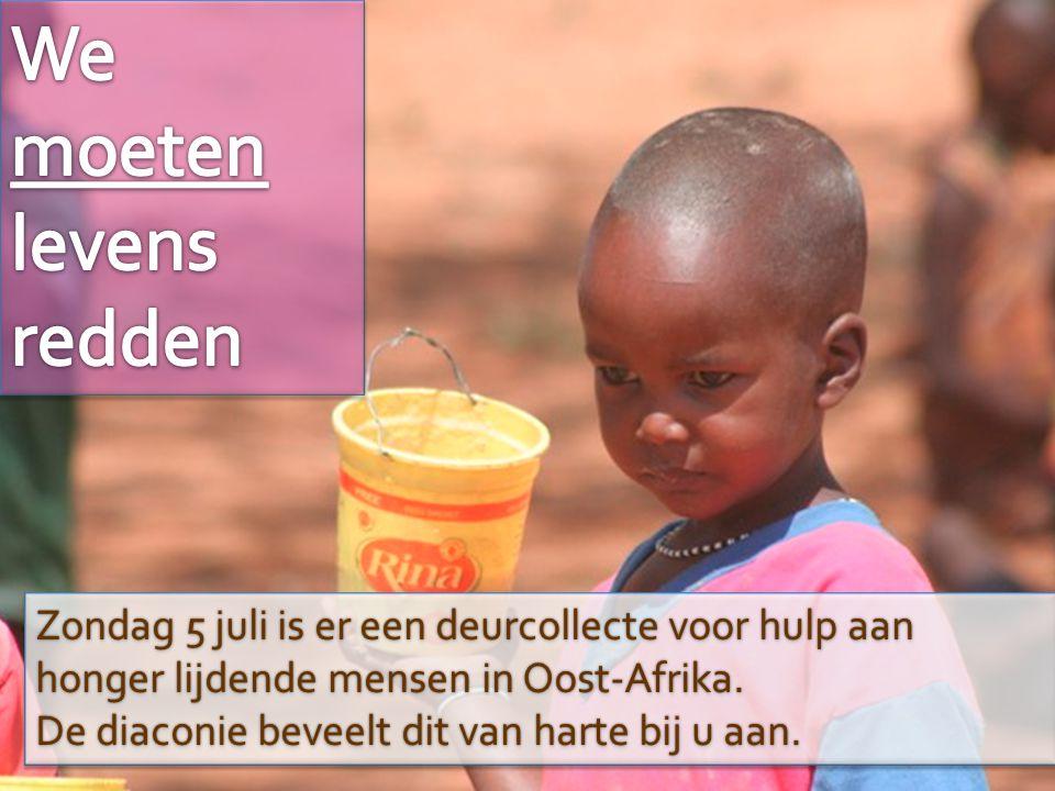 Zondag 5 juli is er een deurcollecte voor hulp aan honger lijdende mensen in Oost-Afrika. De diaconie beveelt dit van harte bij u aan. Zondag 5 juli i