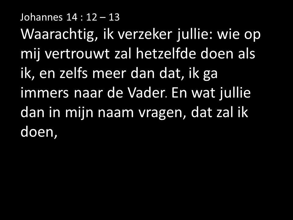 Johannes 14 : 12 – 13 wie op mij vertrouwt zal hetzelfde doen als ik, en zelfs meer dan dat, Waarachtig, ik verzeker jullie: wie op mij vertrouwt zal hetzelfde doen als ik, en zelfs meer dan dat, ik ga.