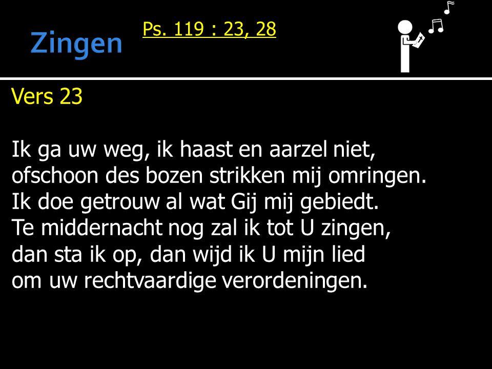 Ps. 119 : 23, 28 Vers 23 Ik ga uw weg, ik haast en aarzel niet, ofschoon des bozen strikken mij omringen. Ik doe getrouw al wat Gij mij gebiedt. Te mi