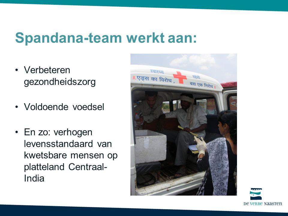 Spandana-team werkt aan: Verbeteren gezondheidszorg Voldoende voedsel En zo: verhogen levensstandaard van kwetsbare mensen op platteland Centraal- Ind
