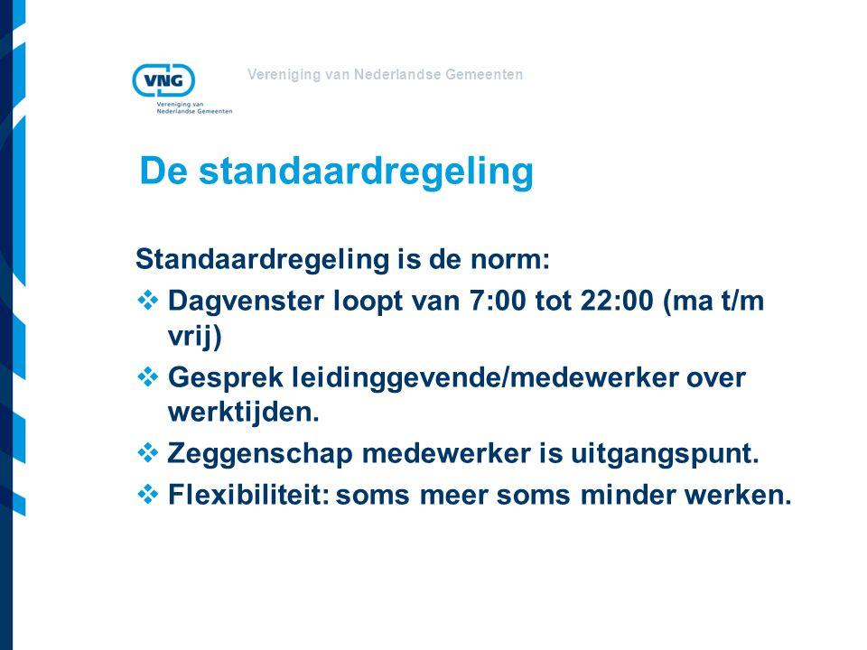 Vereniging van Nederlandse Gemeenten De standaardregeling Standaardregeling is de norm:  Dagvenster loopt van 7:00 tot 22:00 (ma t/m vrij)  Gesprek