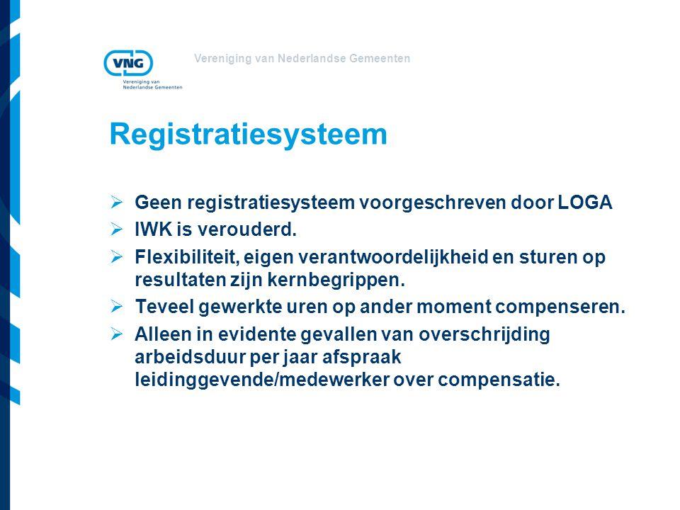 Vereniging van Nederlandse Gemeenten Registratiesysteem  Geen registratiesysteem voorgeschreven door LOGA  IWK is verouderd.  Flexibiliteit, eigen