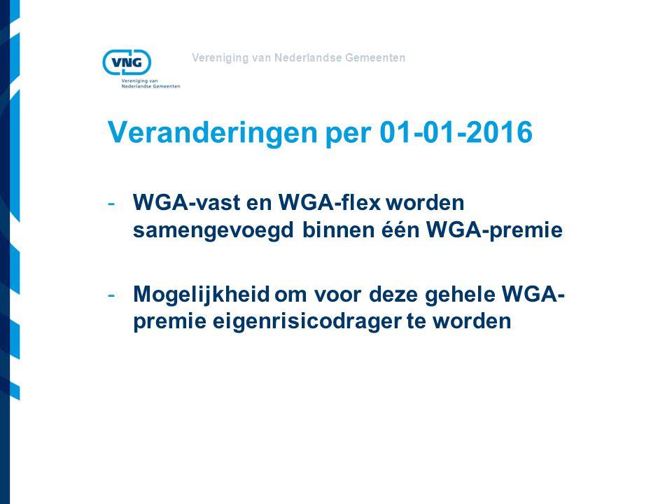 Vereniging van Nederlandse Gemeenten Veranderingen per 01-01-2016 -WGA-vast en WGA-flex worden samengevoegd binnen één WGA-premie -Mogelijkheid om voo
