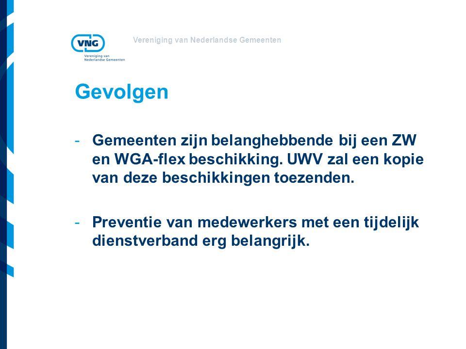 Gevolgen -Gemeenten zijn belanghebbende bij een ZW en WGA-flex beschikking. UWV zal een kopie van deze beschikkingen toezenden. -Preventie van medewer