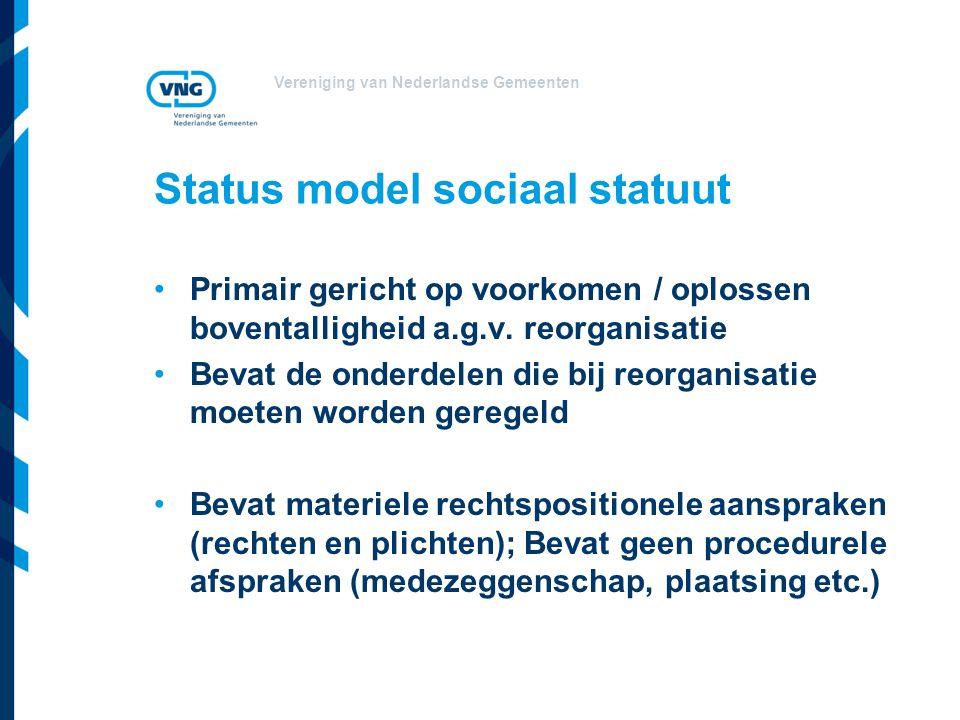 Vereniging van Nederlandse Gemeenten Status model sociaal statuut Primair gericht op voorkomen / oplossen boventalligheid a.g.v. reorganisatie Bevat d