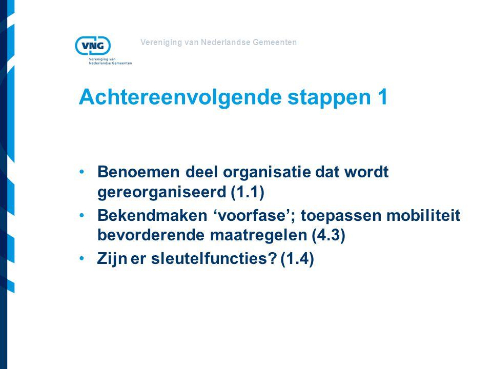 Vereniging van Nederlandse Gemeenten Achtereenvolgende stappen 1 Benoemen deel organisatie dat wordt gereorganiseerd (1.1) Bekendmaken 'voorfase'; toe
