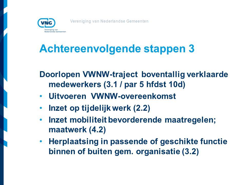 Vereniging van Nederlandse Gemeenten Achtereenvolgende stappen 3 Doorlopen VWNW-traject boventallig verklaarde medewerkers (3.1 / par 5 hfdst 10d) Uit