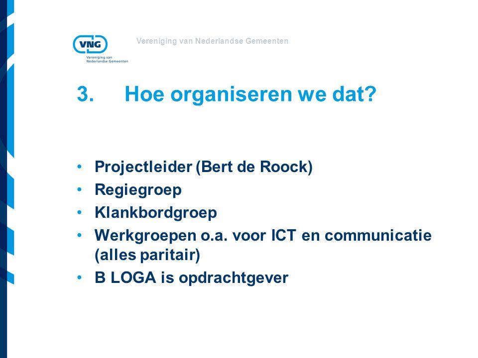 Vereniging van Nederlandse Gemeenten 3.Hoe organiseren we dat? Projectleider (Bert de Roock) Regiegroep Klankbordgroep Werkgroepen o.a. voor ICT en co