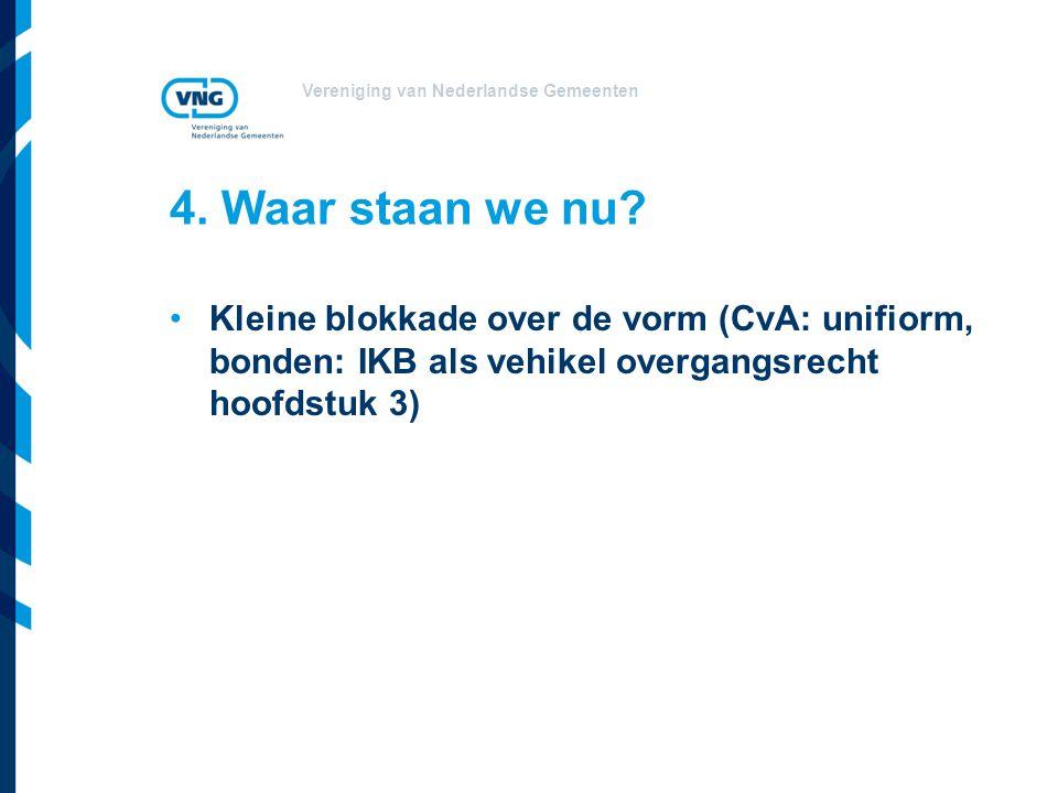 Vereniging van Nederlandse Gemeenten 4. Waar staan we nu? Kleine blokkade over de vorm (CvA: unifiorm, bonden: IKB als vehikel overgangsrecht hoofdstu