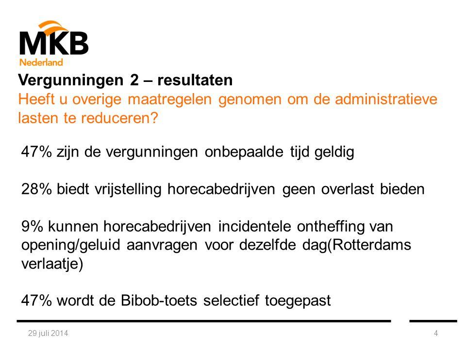 29 juli 20144 47% zijn de vergunningen onbepaalde tijd geldig 28% biedt vrijstelling horecabedrijven geen overlast bieden 9% kunnen horecabedrijven in