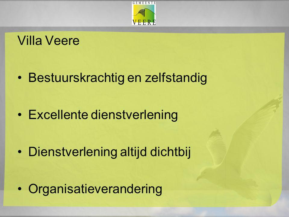 Villa Veere Bestuurskrachtig en zelfstandig Excellente dienstverlening Dienstverlening altijd dichtbij Organisatieverandering